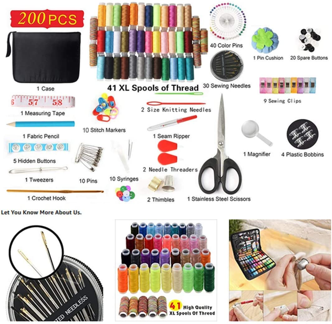 Emergency Repairs Premium Leisure Accessories and Supplies-41 XL Spools of Thread for Travelers DIY and Family Children Top-Spring Sewing Kit 200 Pcs Portable Travel Sewing Kit Adults Beginners
