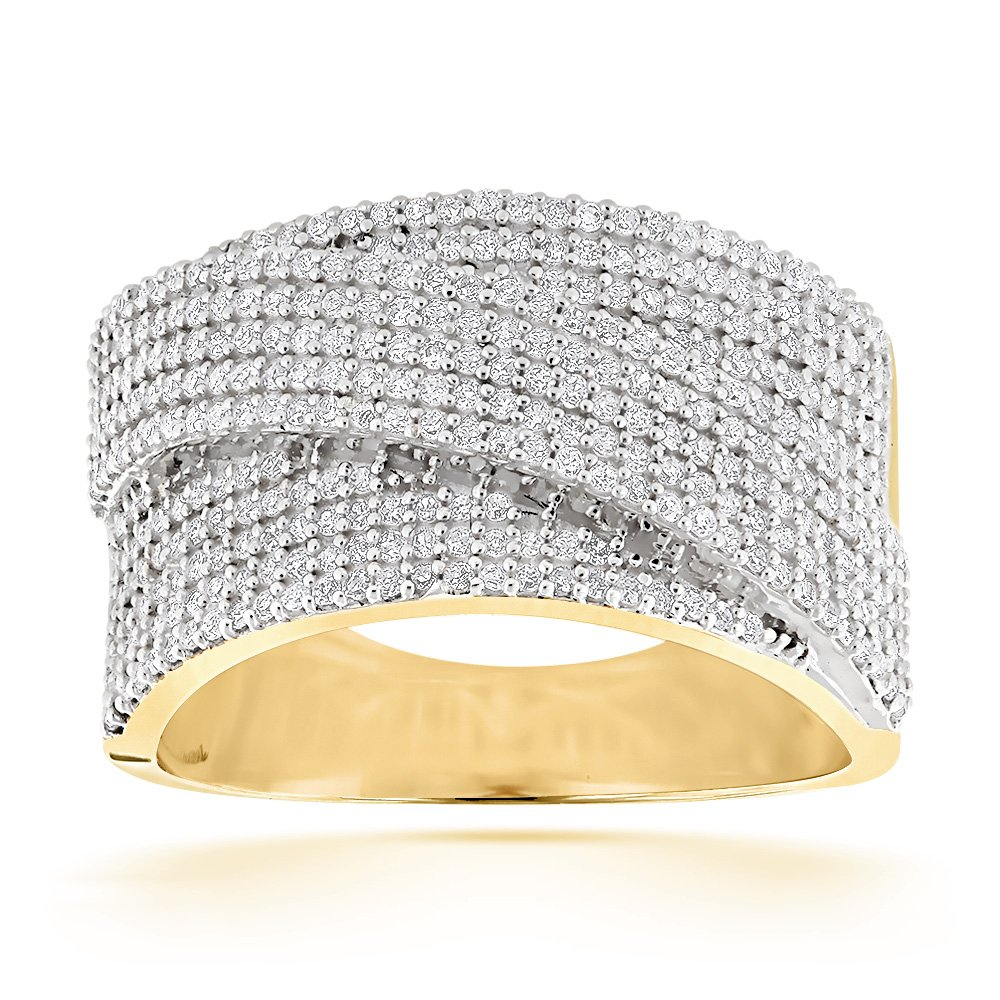 Luxurman Unisex Affordable 14K Pave Set Natural 0.75 Ctw Diamond Wedding Band (Yellow Gold Size 7)