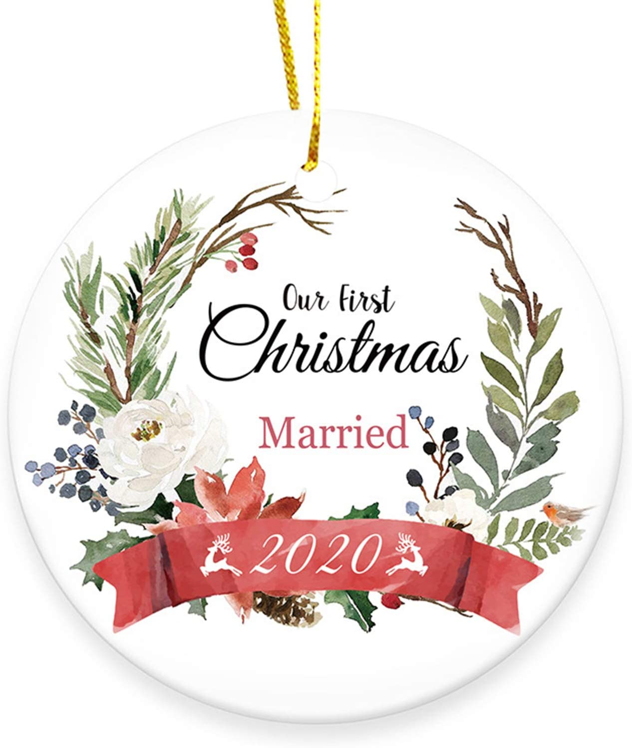 """QIC Our First Christmas Married Ornament 2020 Newlyweds 3"""" Circle Porcelain New Couple Ceramic Wedding Ornament (Married)"""