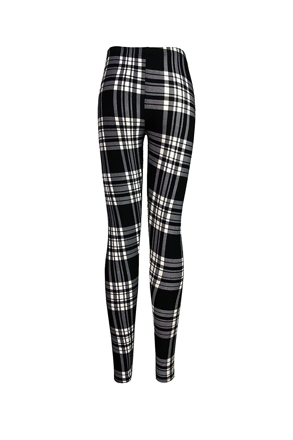 5866526aa88912 Monochrome Grayscale Plaid Women's Leggings Tights (One Size (S/M),  Monochrome Black White and Gray) at Amazon Women's Clothing store:
