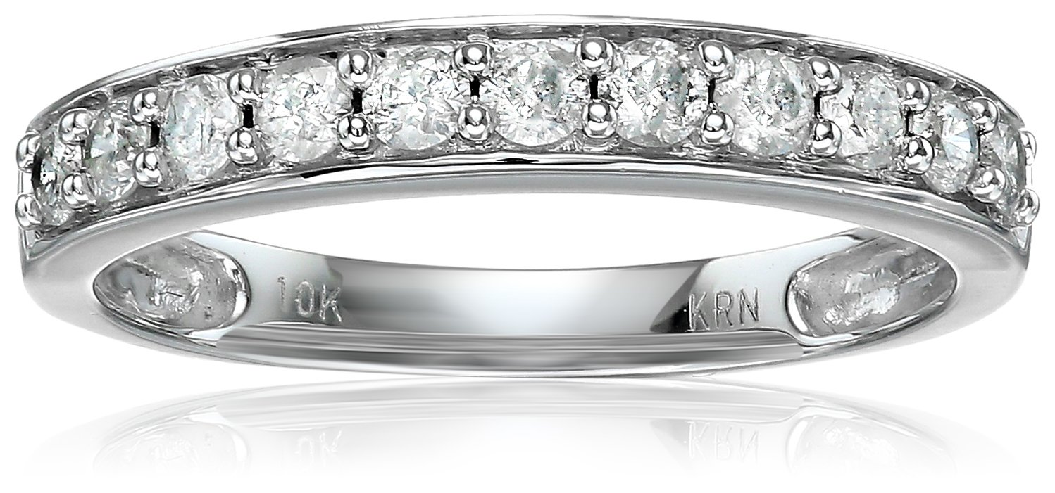 10k White Gold Round Diamond Wedding Band (1/2 cttw, I-J Color, I2-I3 Clarity), Size 7 by Amazon Collection