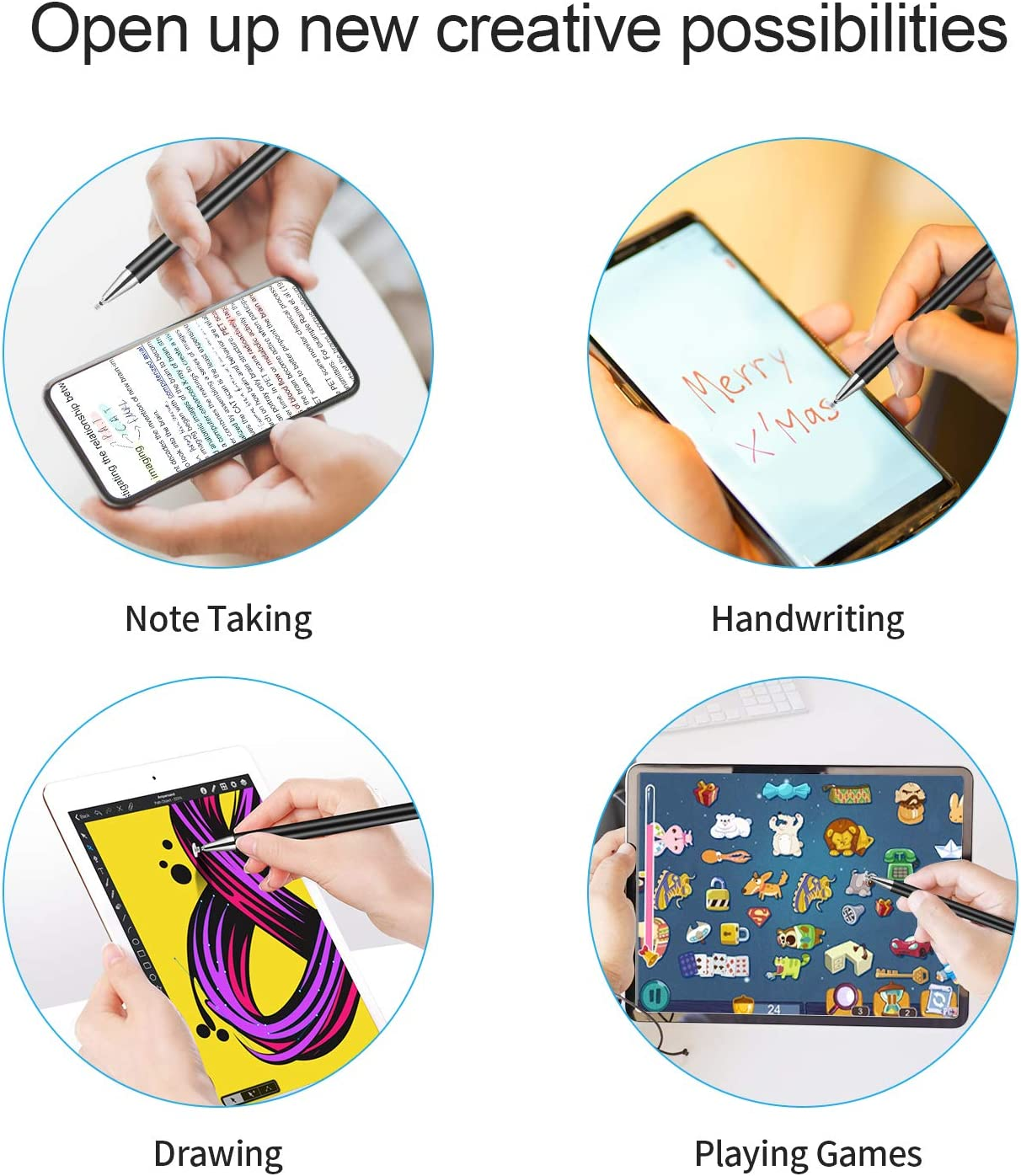 Black Smart High Sensitivity Pencil Drawing Writing Compatible with iPad Pro//iPad Mini//iPad Air//iPhone Series All Touch Screens Capacitive Stylus Pen for Touch Screens