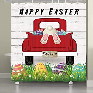 NYMB Vintage Farm Truck Easter Shower Curtain, Easter on Farm Funny Cartoon Rabbit with Red Truck Pull Easter Eggs on Retro Wooden Bathroom Shower Curtains Rings Spring Home Decor Gifts, 69X70in