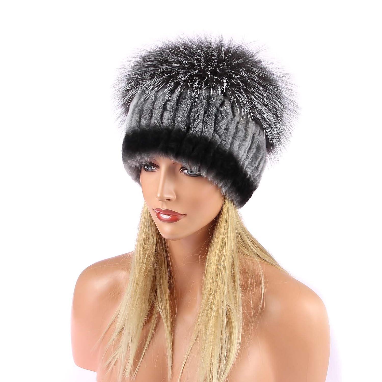 Chinchilla Mütze Pelzmütze Oversizemütze Beanie Silberfuchs Fellmütze Wintermütze Skimütze Fox Kappe Pelzkappe Fuchsmütze