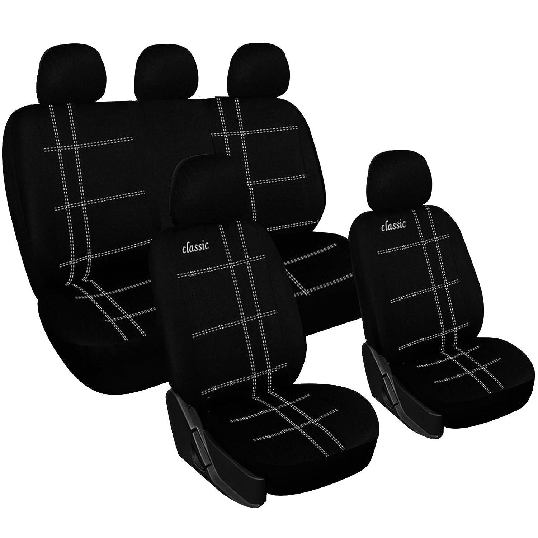 WOLTU AS7205 Couverture de siè ge de voiture, housses de siè ge universelle polyester, Noir Blanc housses de siège universelle polyester