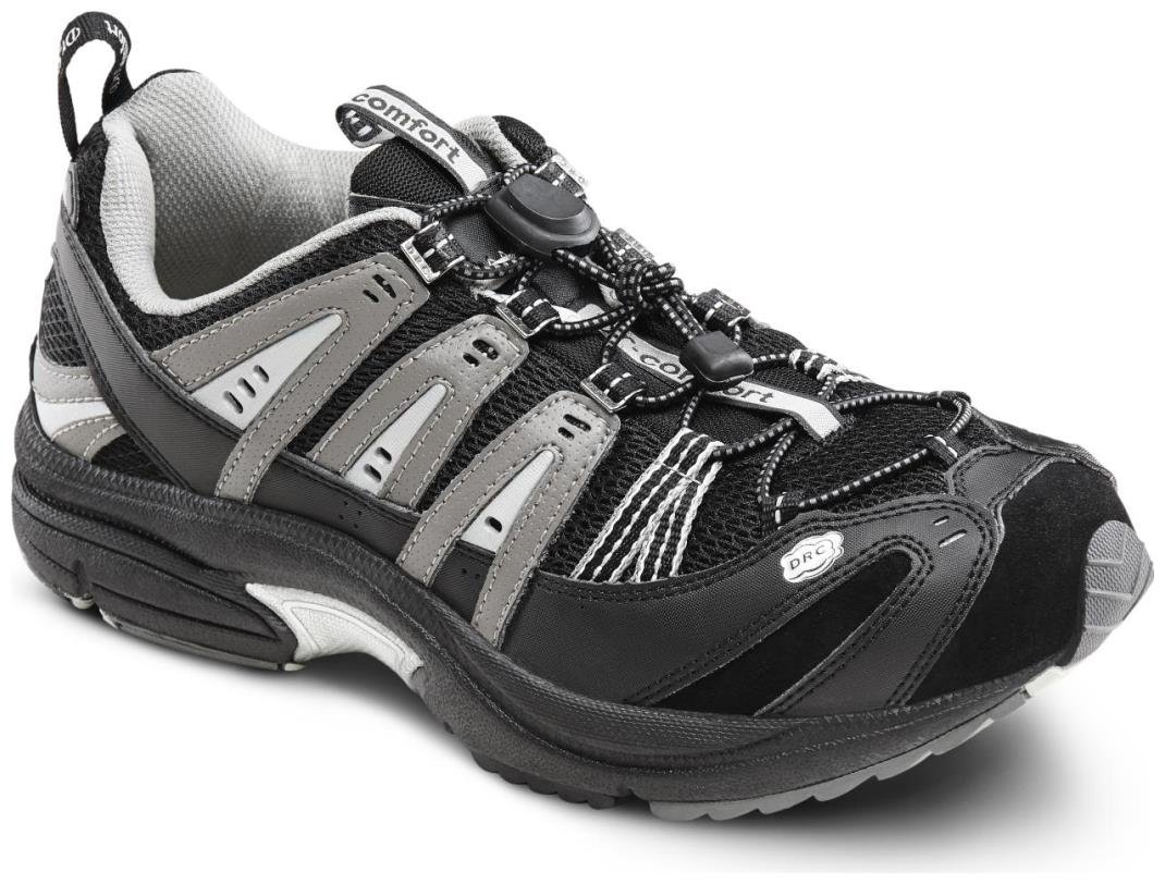 Dr. Comfort Men's Performance Black Grey Diabetic Athletic Shoes 12 D(M) US|Black