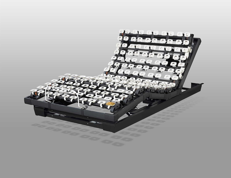 Lattoflex 393 K Unterfederung, Bei dem Lattoflex 393-K Motorrahmen werden Kopfteil, Rückenteil und Oberschenkelverstellung per Motor bewegt. Die Fernbedienung, die auch allen anderen Motorrahmen beiliegt, verfügt über 6 Speichertasten für Ihre Lieblingseinstellungen. (100 x 200 cm)