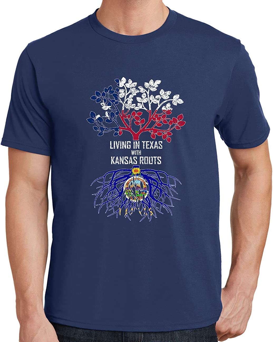Tenacitee Mens Living in Kansas South Dakota Roots T-Shirt