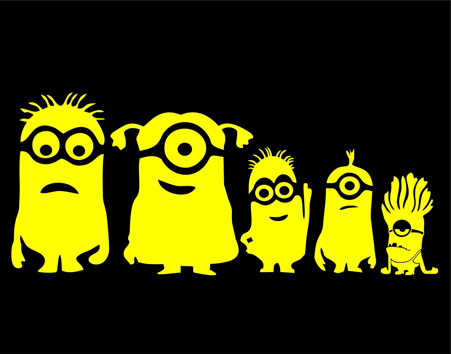 "Minion Family - 9"" x 3-1/4"" - Yellow Vinyl Die Cut Decal Bumper Sticker for Windows, Cars, Trucks, Laptops, Etc."