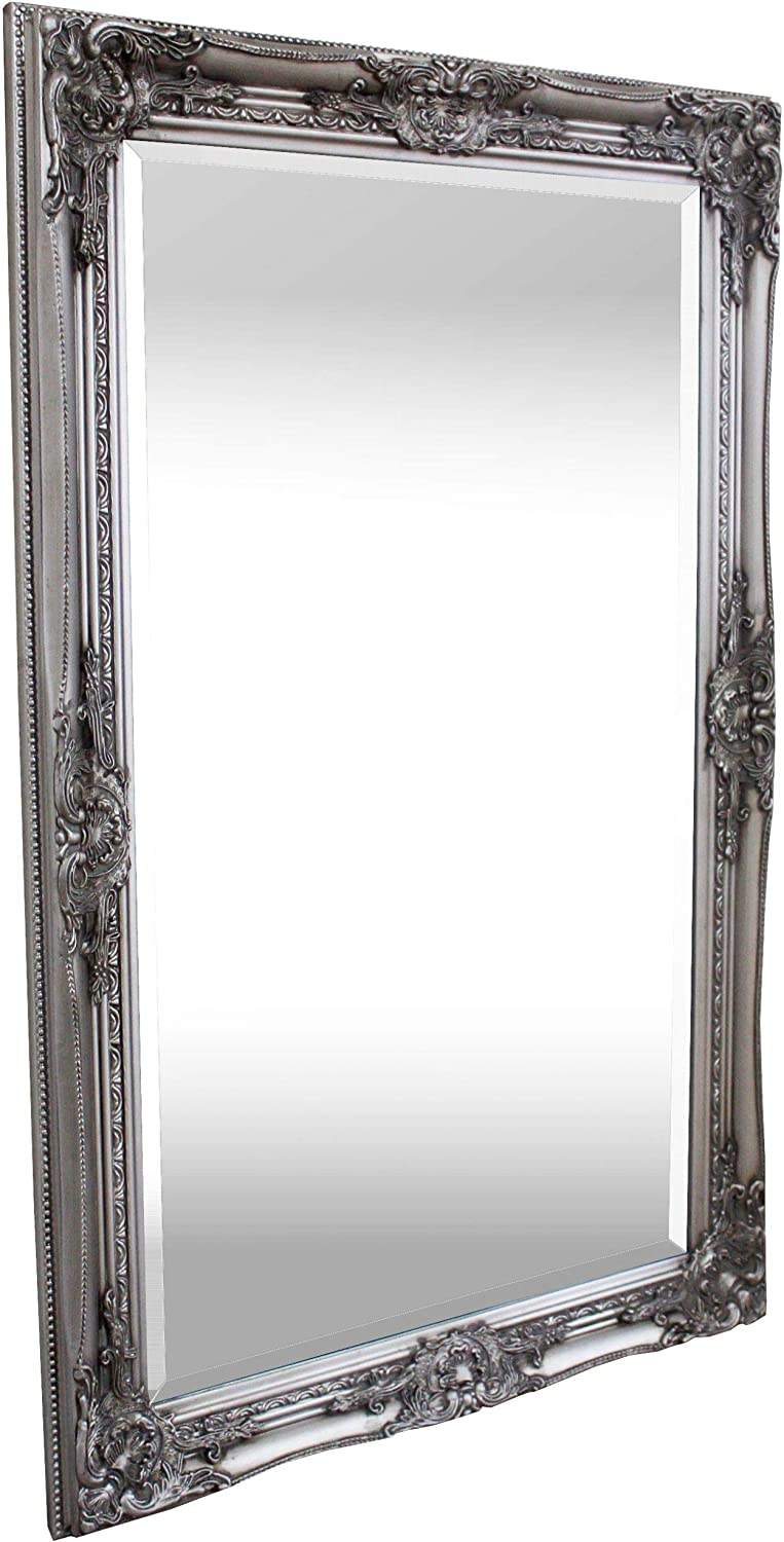 Large Antique Silver Shabby Chic Ornate Decorative Wall Mirror timeless design