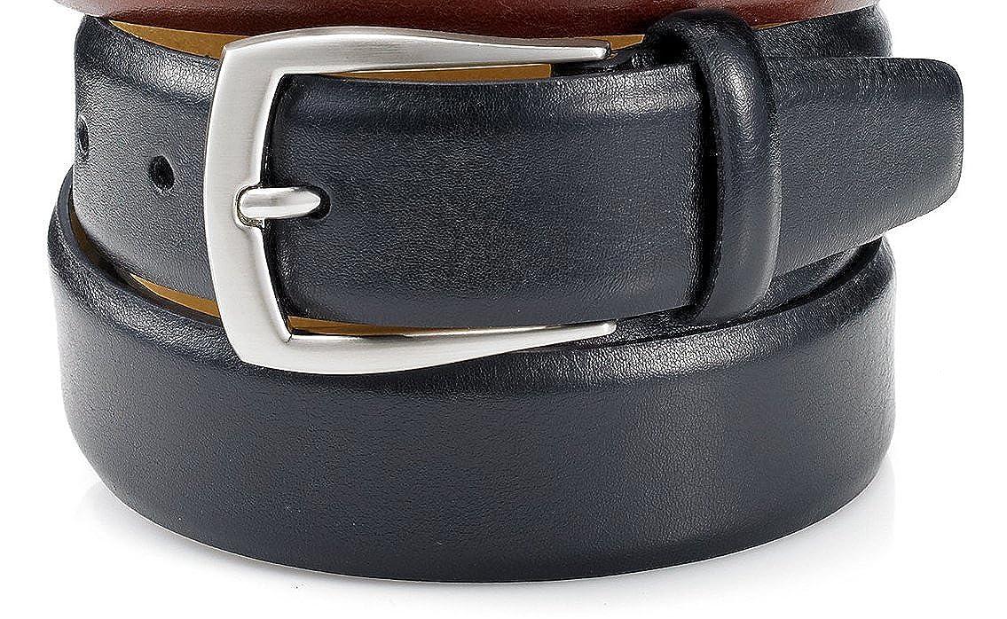 bb4e34154ecf Tasso Elba Men's 32mm Feather Edge Leather Dress Belt, Black 40/100:  Amazon.co.uk: Clothing