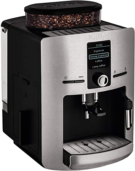 Krups EA 826E - Máquina espresso, automática, de café molido, 1450 W, 1.8 L, acero inoxidable, negro/gris: Amazon.es: Hogar