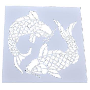 Double Fish Wall Painting Stencil Reusable Drawing Masking Koi ...