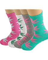 4pair-pack Marijuana Weed Leaf Printed Cotton High Socks, Mix Colors, fit for shoe size 7-11