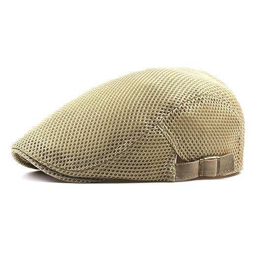 2fd85322212 Men Breathable mesh Summer Hat Newsboy Beret Ivy Cap Cabbie Flat Cap (Beige)