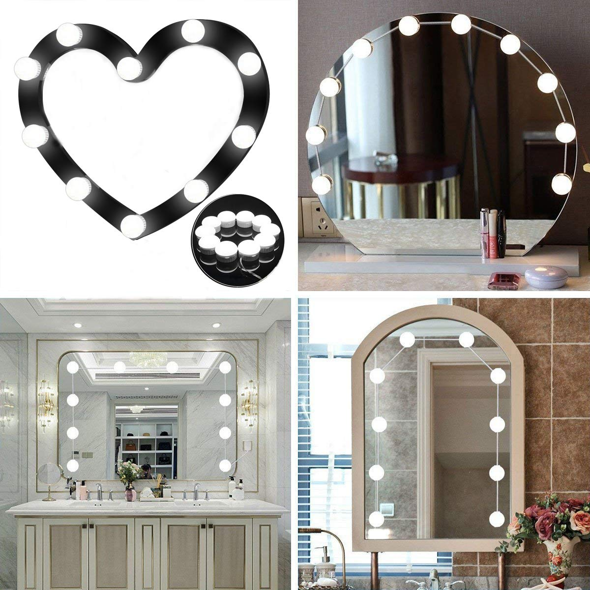Hollywood Style LED Vanity Mirror Lights Kit Alture 10 Dimmable Light Bulbs 15.2FT Adjustable Length Daylight Whilte LED Vanity Light with Dimmer for Makeup Vanity Table Set in Dressing Room Mirror