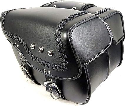 Verschleißfeste Leder Motorrad Satteltasche Set 2 Stück Wasserdichte Verdickte Motorrad Satteltaschen Motorrad Werkzeugtasche Mit Beschlagteilen Sport Freizeit