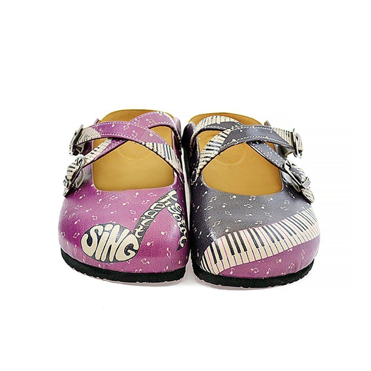 Purple & Black Music Clogs CAL113 36 EU