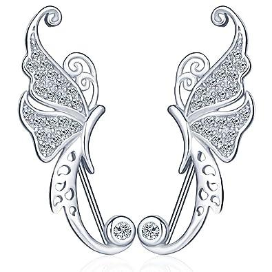 Infinite U Elegant Angel Wing 925 Sterling Silver Cubic Zirconia Ear Cuff Earring Ear Hook for Women/Girls, Silver