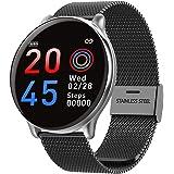 SmartWatch com Monitor Cardíaco, Monitor de Sono e Pressão Sanguínea para iOS e Android,preto/Faixa de aço inox