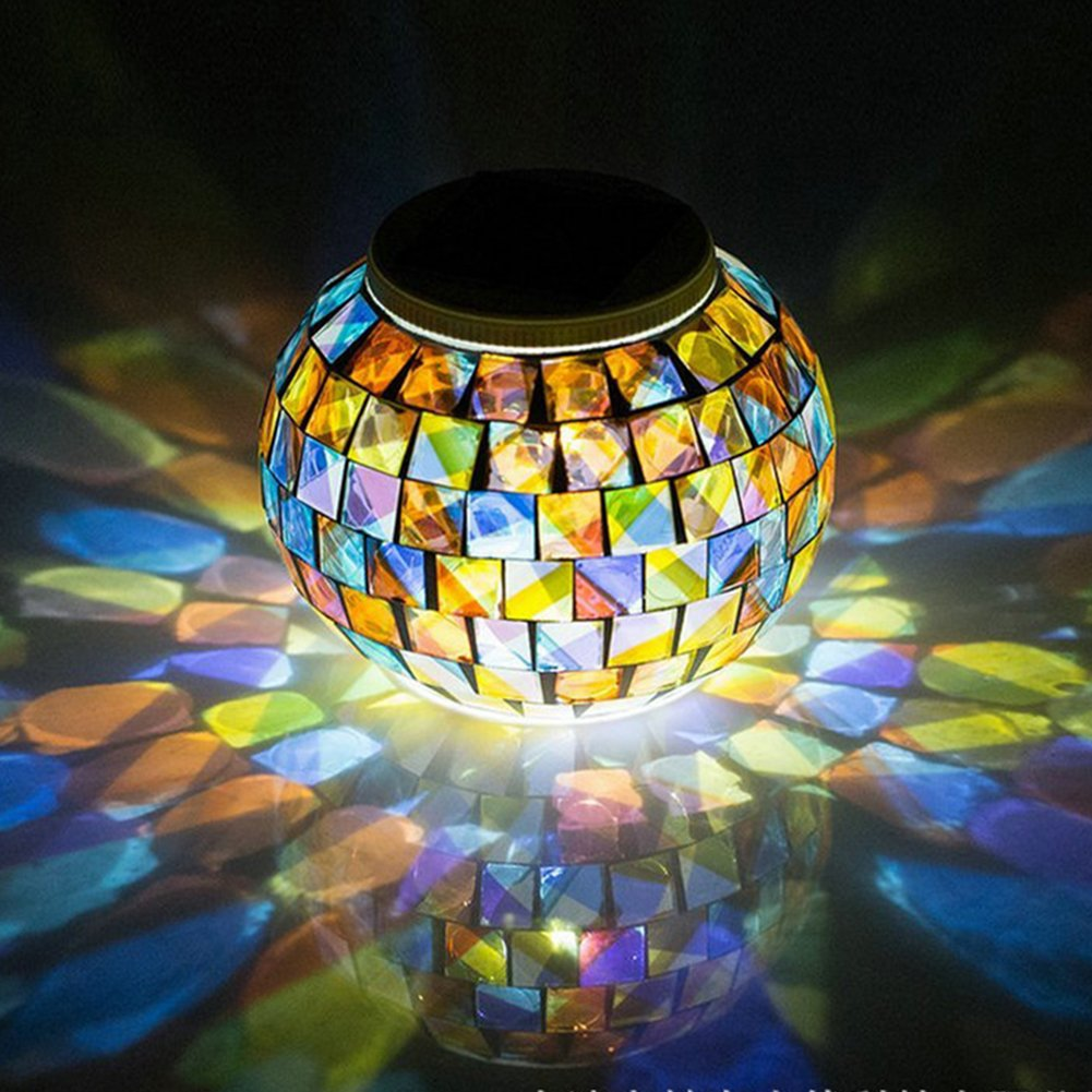 Color Changing Solar Powered Glass Ball Garden Lights, Aukora Solar Table Lights Waterproof Solar Led Night Light for Patio Garden Halloween Christmas Outdoor Decoration, Ideal Gift(Mosaic Glass) by Aukora