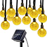 Lumitify Globe Solar String Lights, 19.7ft 30 LED Fairy Crystal Ball Lights, Outdoor Decorative Solar Lights for Christmas Home, Garden, Patio, Lawn, Party and Holiday(Warm White)