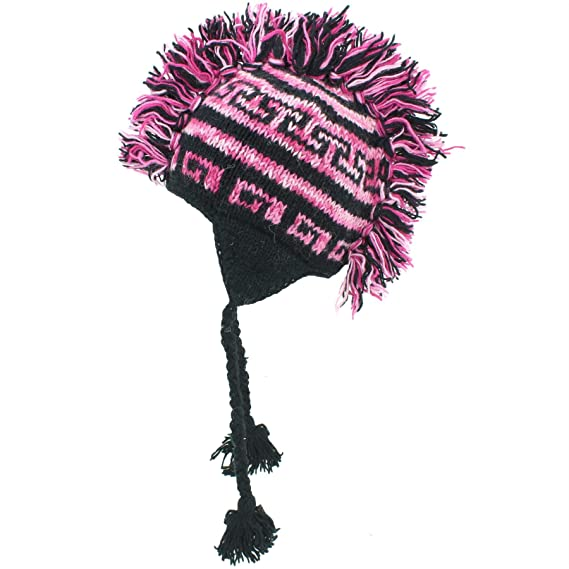 0722ed41c74 LOUDelephant purple and black wool ear flap hat with Mohawk and fleece  lining  Amazon.co.uk  Clothing