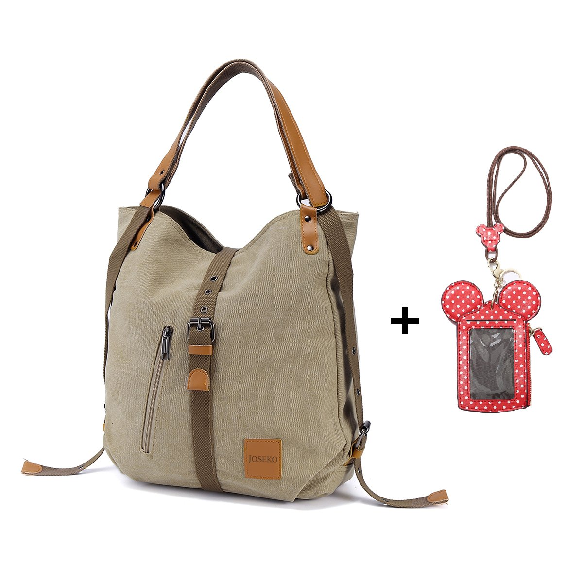 JOSEKO Multifunctional Canvas Bag and Cute Animal Shape Neck Bag Card Holder Wallet Women Convertible Backpack Purse