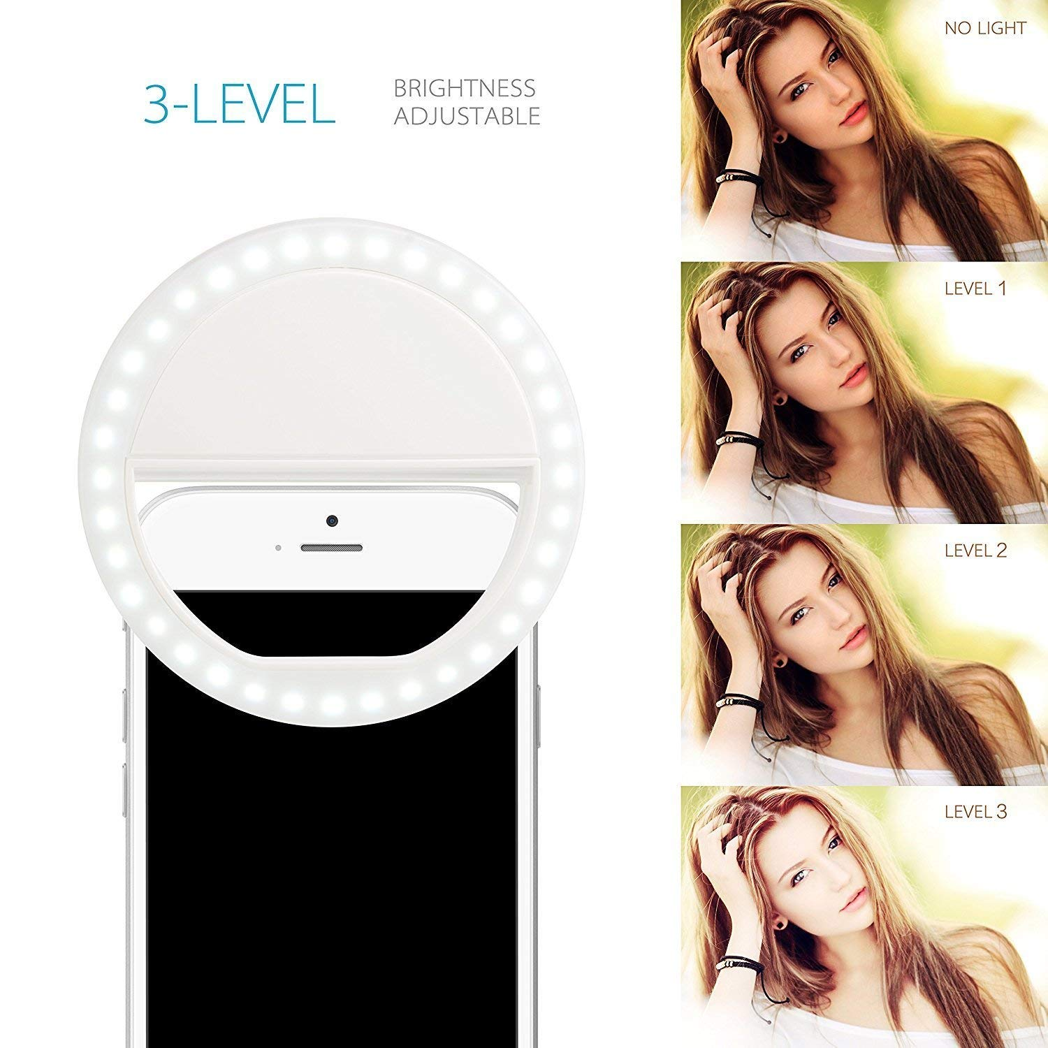 Selfie ring light, clip-on camera light, rechargeable, 36 LEDs, 3 different brightness levels, photography video light night light for iPhone, Samsung and other smartphones and tablets
