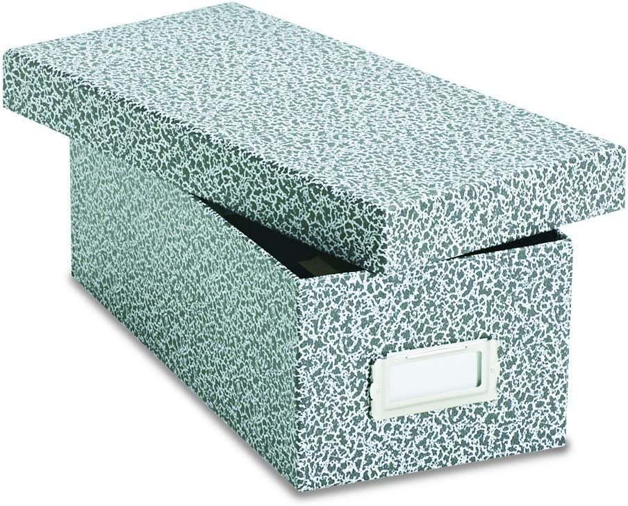 Oxford 40588 Reinforced Board Card File, Lift-Off Cover, Holds 1,200 3 x 5 Cards, Black/White