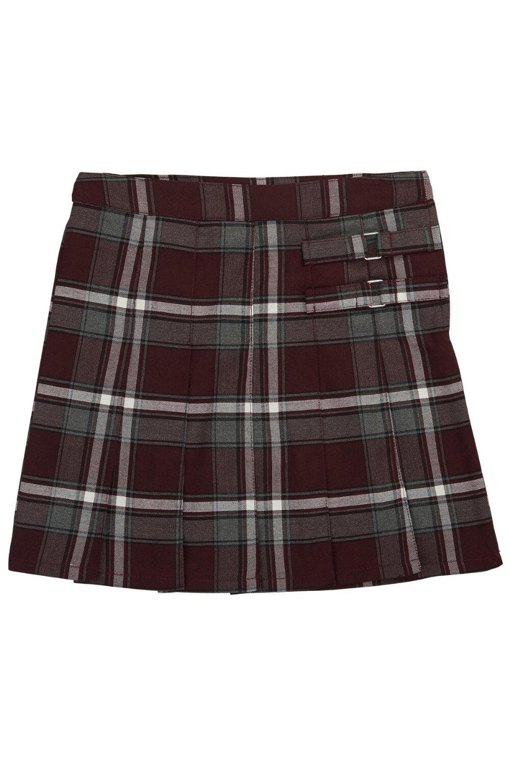 French Toast Little Girls' Plaid Pleated Scooter, Burgundy Plaid, 6