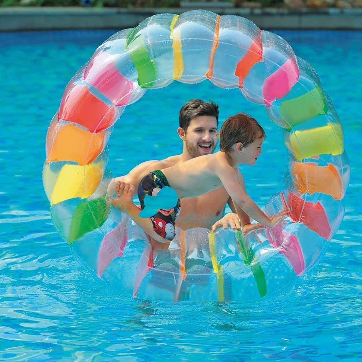 Niños Colorido Inflable Rueda de Agua Rodillo Flotador 36 Pulgadas Gigante Rollo Bola para Niños y Niñas Piscina Juguetes Hierba Juguete