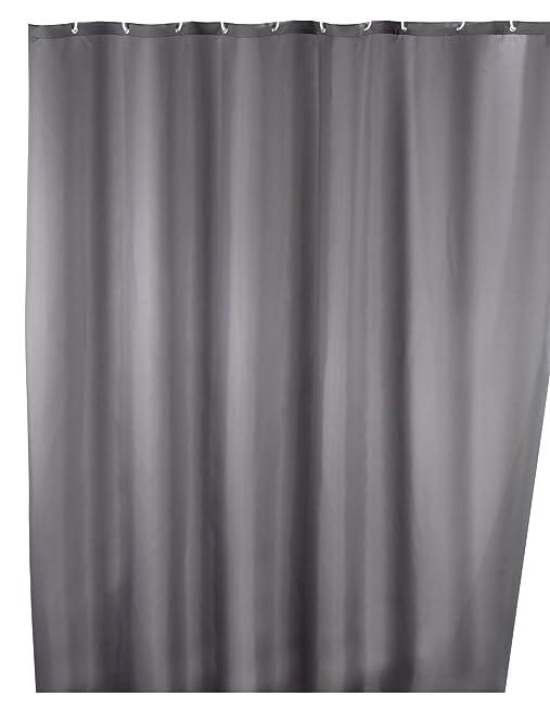 Wenko 20044100 Shower Curtain Textile Anti-Mould 180 x 200 cm Grey ...