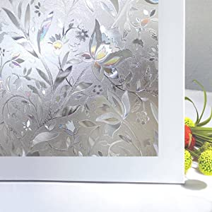 """Bloss No Glue Static Cling Window Film Decorative Pattern Design Glass Window Film Privacy Window Covers for Home/Bedroom/Bathroom Window Decor(17.7"""" By 78.7"""" ,1 Roll)"""