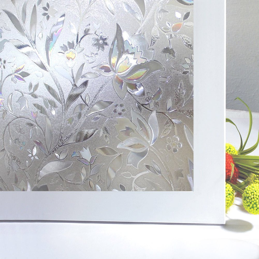 Bloss No Glue Static Cling Window Film Decorative Pattern Design Glass Window Film Privacy Window Covers for Home/Bedroom/Bathroom Window Decor(17.7'' By 78.7'' ,1 Roll)