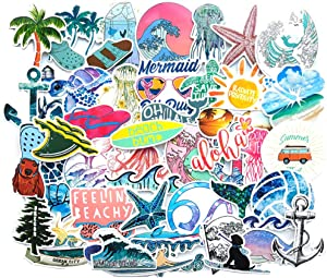 Water Bottle Sea Stickers Vacation Beach Stickers Turtle Stickers Pack 50 Pcs Outdoors Aesthetic Beach Surfing Decals for Water Bottle Laptops Ipad Cars Luggages
