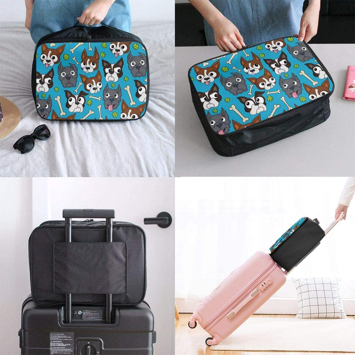 YueLJB Boston Terrier Pictures Lightweight Large Capacity Portable Luggage Bag Travel Duffel Bag Storage Carry Luggage Duffle Tote Bag