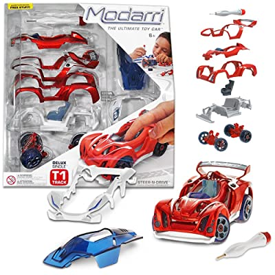 Modarri Delux T1 Track Car Red | Stem Educational Toy Cars | Make a Model Car - Design Your Own Working Race Cars | Fun and Functional Building Toys for Kids | fr Girls and Boys Age 5-10 Kit: Toys & Games
