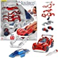Modarri Delux T1 Track Car Red | Stem Educational Toy Cars | Make a Model Car - Design Your Own Working Race Cars | Fun and Functional Building Toys for Kids | fr Girls and Boys Age 5-10 Kit