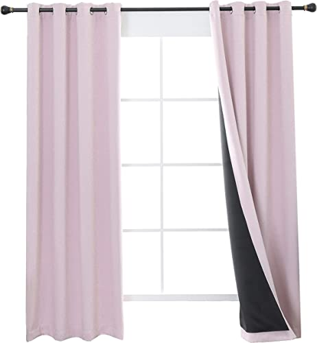 Aquazolax Nursery Blackout Curtains Liner, 100 Blackout Blinds, Girls Room Decoration Window Treatment Curtains, Totally Darkness Drapes Thermal Insulated, 2 Panels, 52 by 84-inch, Baby Pink
