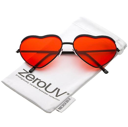 b3622176bd zeroUV - Oversize Metal Frame Slim Arms Color Tinted Lens Heart Sunglasses  61mm (Black