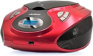 Lauson MX12 Radio FM Sintonizador Pantalla LCD y Reproductor de CD Portátil con Lector USB para Reproducir Música MP3 | CD Player con Salida de Auriculares 3.5mm, Altavoces Incorporados (Rojo)
