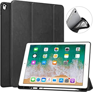 MoKo Case Fit iPad Pro 12.9 2017/2015 with Pencil Holder - Slim Lightweight Smart Shell Stand Cover Case with Auto Wake/Sleep Fit iPad Pro 12.9 Inch Tablet(1st & 2nd Gen), Black