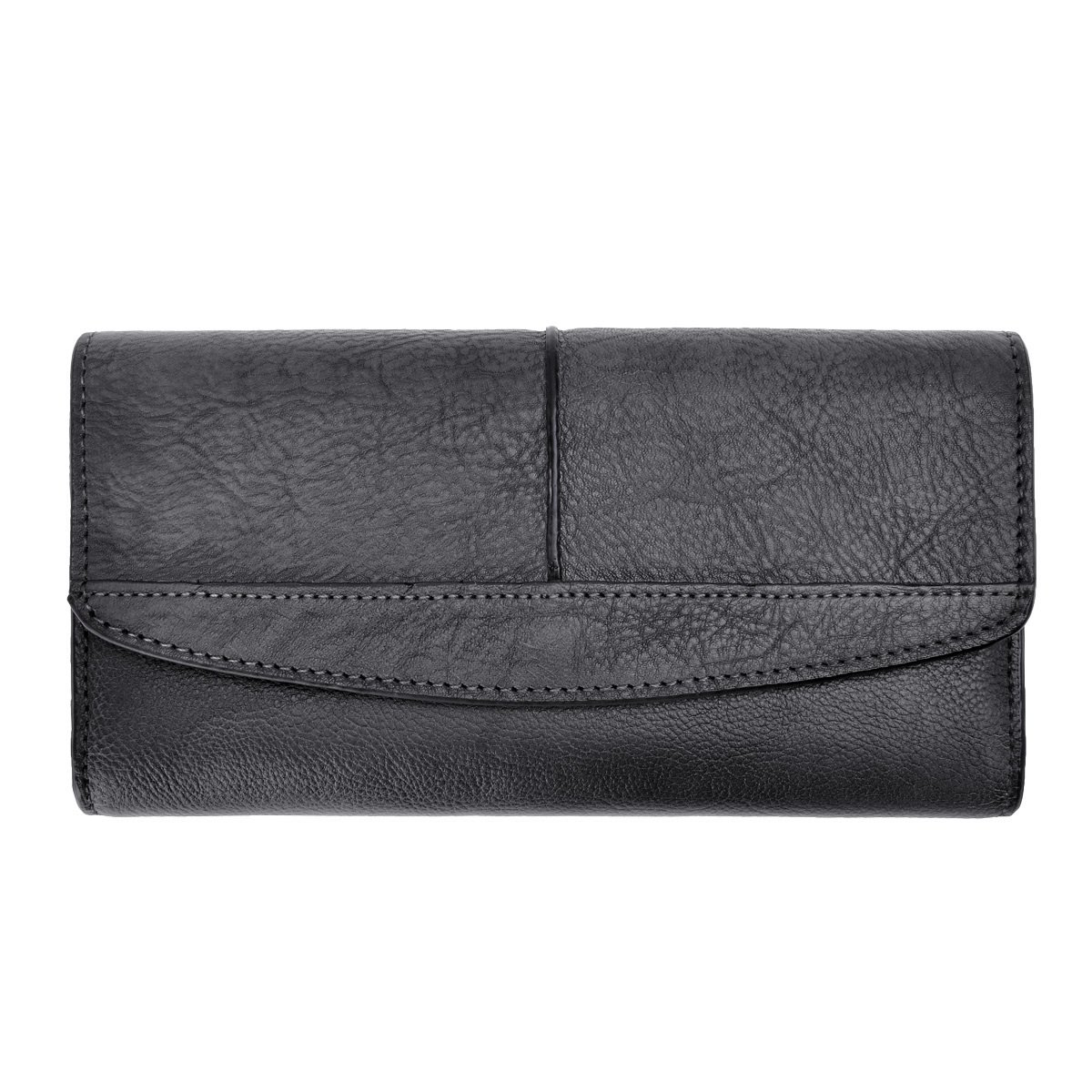 ZLYC Women's Large Capacity Leather Clutch Wallet With Zipper Pocket (Grey)