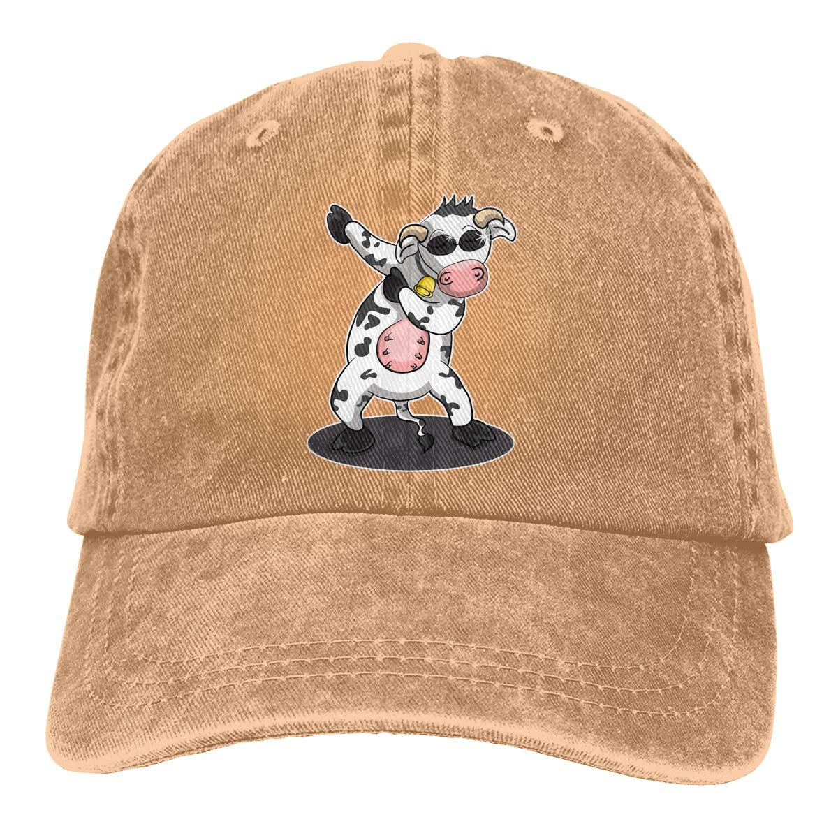 Men Women Dabbing Dancing Cow Funny Vintage Washed Dad Hat Cute Adjustable Baseball Cap
