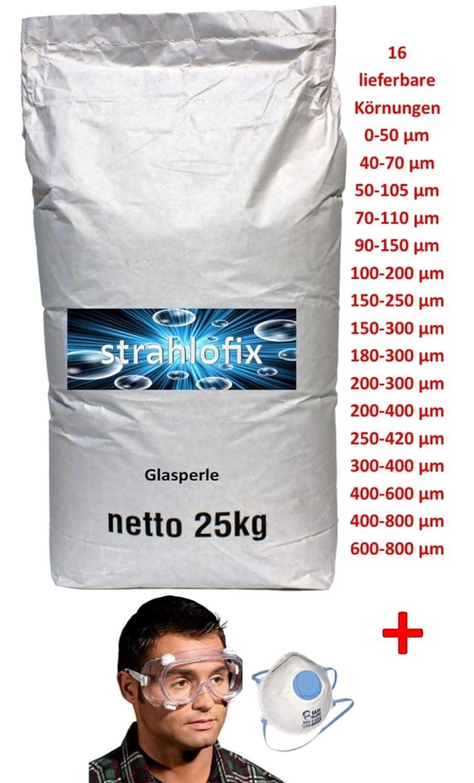 25 kg Glasperlen Strahlmittel Strahlglasperlen 16 K/örnungen mit PSA 1 1 40-70 /µm