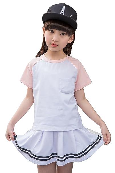La blusa coreana de las camisetas del algodón del verano de la muchacha bordea 2 sistemas