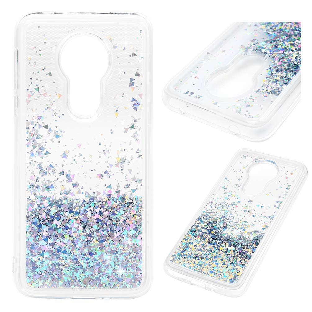 Moto G7 Power Case, Clear Liquid Glitter Case Air-Cushion Drop Resistant Shiny Sparkle Flowing Moving Hearts Shock Absorption TPU Bumper Shell Ultral Slim Protective Cover for Moto G7 Power - Silver