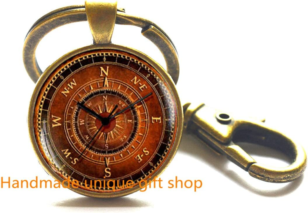 Vintage Compass 25mm Keyring Keychain