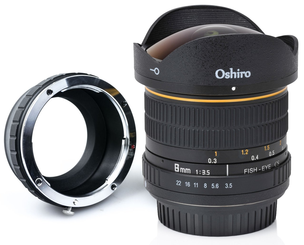 Oshiro 8mm f/3.5 LD UNC AL Wide Angle Fisheye Lens for Sony a7r II, a7s, a7, a6300, a6000, a5100, a5000, a3000, NEX-7, NEX-6, NEX-5T, NEX-5N, NEX-5R, 3N and other E-Mount Digital Mirrorless Cameras SH8MMLNEX